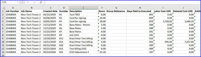 exported excel sheet