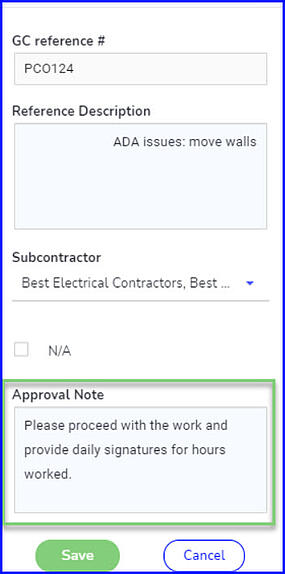 approval note