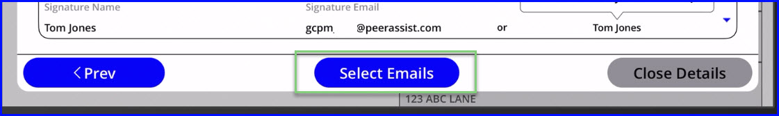 select emails button